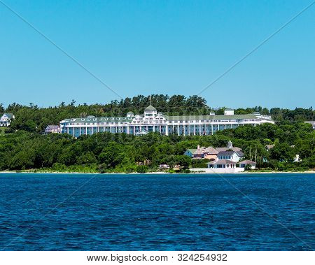 Mackinac Island Mi /usa - July 9th 2016: The Grand Hotel On Mackinac Island From A Cruise Ship Saili