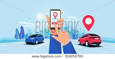 Cartoon Vector Illustration Of Hands With Smartphone App And Motorway Traffic. Autonomous Connected