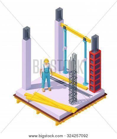 Vector Isometric Monolithic Concrete Building Construction Site. Concrete Formwork, Columns, Builder