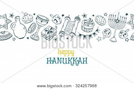 Chanukah Dreidel, Doughnut, Menorah Hand Drawn Vector Illustration Isolated On White Background. Han