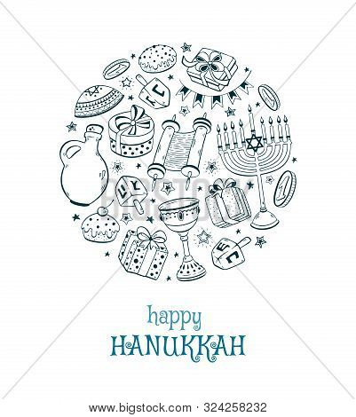 Hanukkah Dreidel, Doughnut, Menorah Hand Drawn Vector Illustration Isolated On White Background. Cha