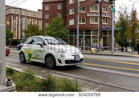 Seattle, Wa/usa-9/15/19:  Lime Car Rental Called Limepod A Trail Service.