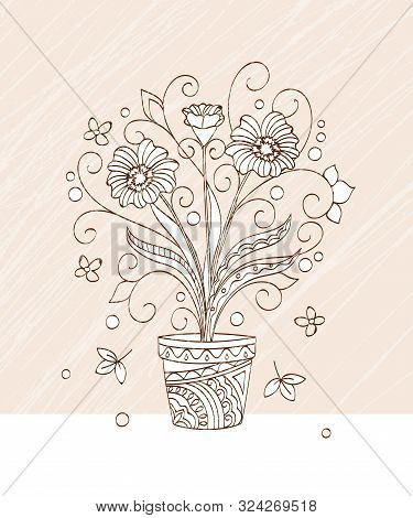 Vintage Greeting Card With Hand Drawn Flower  In The Pot  For Decoration, Wall Art On Grange Backgro
