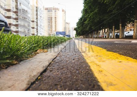 Wet Asphalt Road With Sun Reflections And Trees - Instant Vintage Square Photo.