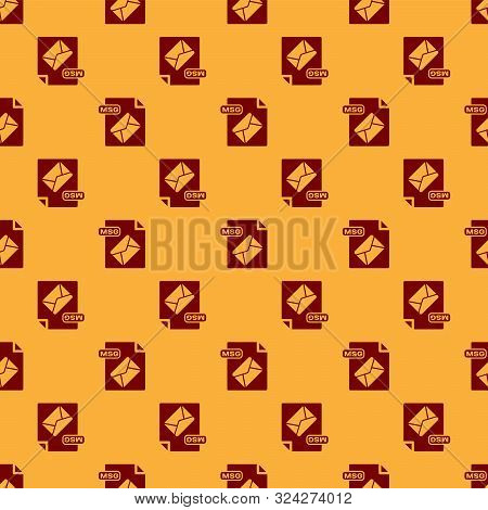 Red Msg File Document. Download Msg Button Icon Isolated Seamless Pattern On Brown Background. Msg F