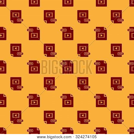 Red Mp4 File Document. Download Mp4 Button Icon Isolated Seamless Pattern On Brown Background. Mp4 F