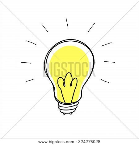 Lightbulb Doodle In A Naive Hand Drawn Style, On A White Background