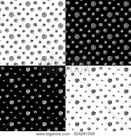 Abstract Polka Dot Pattern Set With Hand Drawn Dots. Cute Vector Black And White Polka Dot Pattern S