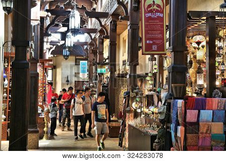 Dubai, Uae - November 23, 2017: People Shop At Souk Madinat Jumeirah In Dubai. The Traditional Arab