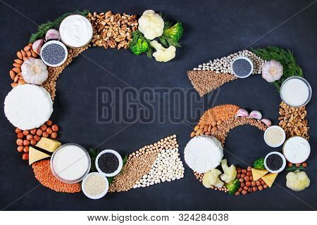 Set Of Food That Is Rich In Calcium. Top View. Cottage Cheese, Curd, Cheese, Milk, Yogurt, Beans, Ch