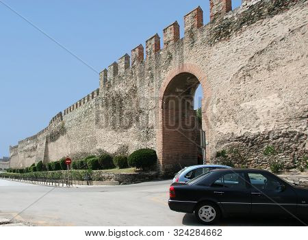 Gates And Walls Of An Ancient Fortress In Thessaloniki. Greece