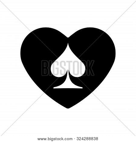 Black Heart Spades Suit Icon. A Symbol Of Love. Valentine S Day With Sign Playing Card Suits. Flat S