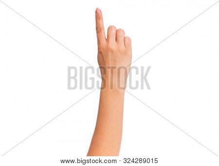 Female hand showing 1 finger gesture, isolated on white background. Beautiful hand of woman with copy space. Hand doing gesture of number One. Series of photos count from 1 to 5.