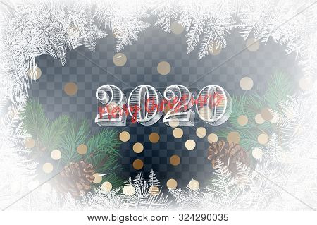 2020 Snow Frost Effect On Blue Background. Vector Illustration. 2020 Frost Glass Pattern. Winter Fra