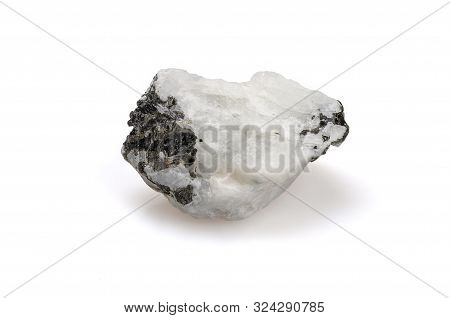 Moon Rock. Mineral. Adular On A White Background. Feldspar. Nugget Close Up View. Jewelcrafting.