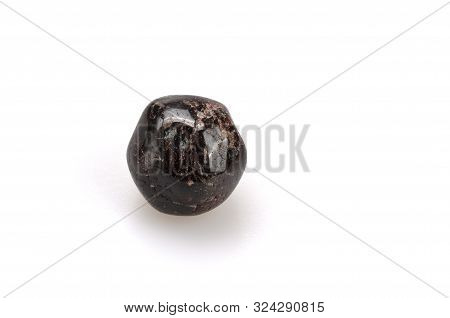 Mineral Pomegranate On A White Background. Ornamental Stone. Close Up View. Jewelcrafting. Gemology.