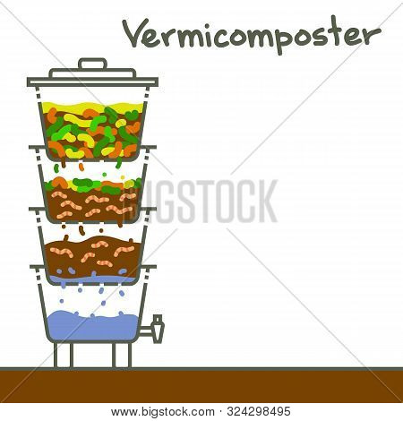 Vermicomposting: Striped Worms That Process Organic Waste From The Kitchen, A Selective Approach. Th