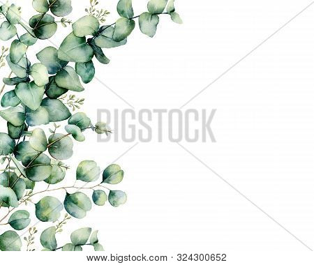 Watercolor Card With Eucalyptus Bouquet. Hand Painted Eucalyptus Branches And Leaves Isolated On Whi