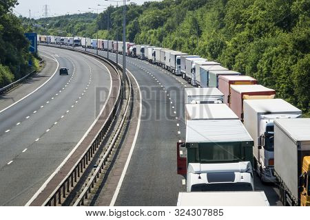 Lorries Queued When Operation Stack Is In Place On The M20 Motorway In Kent