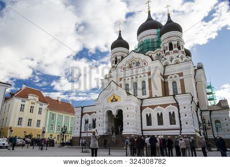 Tallinn, Estonia, September 2012 - Groups Of Tourists Outside Alexander Nevsky Cathedral In The City