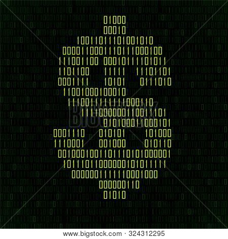 Abstract Sign Dollar Of Binary Code, Technology Logo