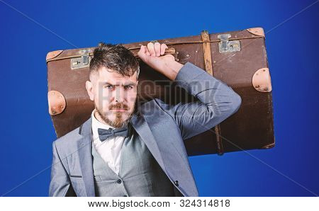 Bearded Man In Suit. Stylish Esthete With Vintage Bag. Business Trip With Retro Suitcase. Heavy Bag.