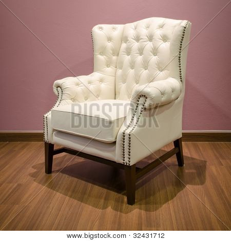 Side Of Classic Chesterfield Luxury White Leather Armchair
