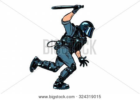 Riot Policeman Attacks With A Baton. Police Work. Authoritarian And Totalitarian Regimes Concept.pop