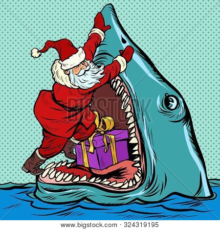 Santa Claus Pushes Christmas Gift Into Shark Mouth. Pop Art Retro Vector Illustration Kitsch Vintage