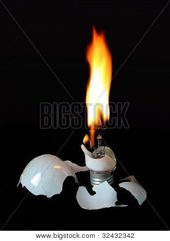 Incandescent Flameing Light Bulb