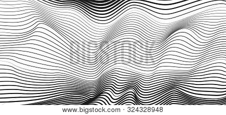 Black Undulating Curves On White Background. Abstract Technology Striped Pattern. Vector Modern Line
