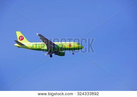 Astrakhan. Russia.03.28.19. Aircraft Airline S7 Zahadit Landing.