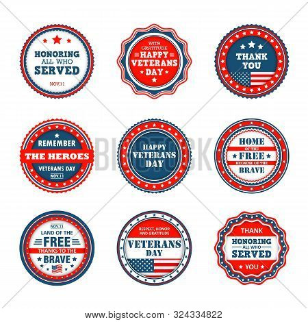 Set Of Badges To Veterans Day In America. Vector Icons Of Veterans Day, 11th November In Usa. Collec