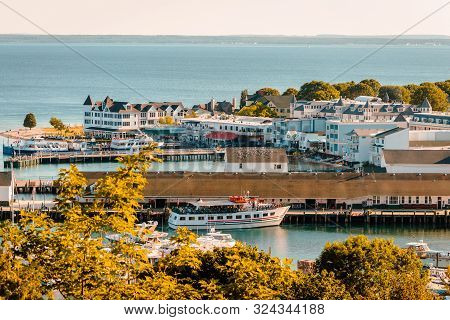 Mackinac Island Mi /usa - July 9th 2016: View Of The Whole Of Downtown Mackinac Island