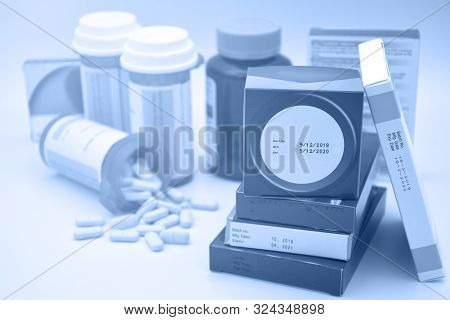 Pharmaceutical Products With Manufacturing Date And Expiry Date On Package.