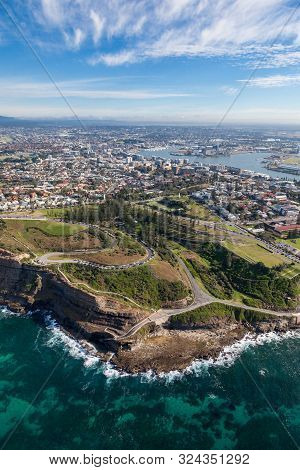 Aerial View Of Newcastle And King Edward Park - Nsw Australia.