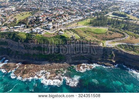 Aerial View Of The Cliff Line At King Edward Park And