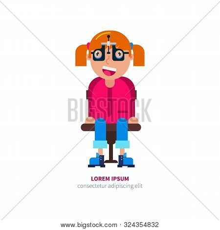 Girl In Glasses Checks Eyesight Vector Illustration.