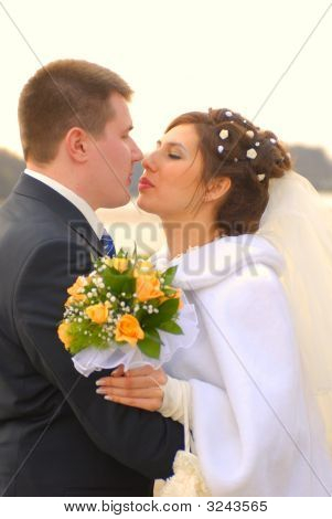 Wedding. First Kiss