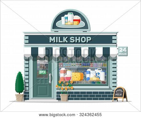 Dairy Store Or Milk Shop With Signboard, Awning. Store Facade With Storefront. Farmer Shop, Showcase