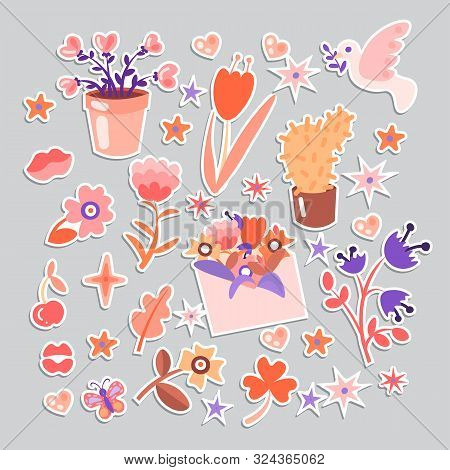 Cute Cartoon Flower Collection, Sticker Style. Flowers, Leaves, Cute Cacti And Flower Pot, Girl Flow