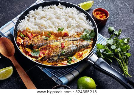 Fish Yellow Curry, Panang Curry With Grilled Saba Mackerel Fish Served With Steamed Long Grain Rice