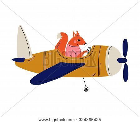 Fox Pilot Flying On Retro Plane In The Sky, Cute Animal Character Piloting Airplane Vector Illustrat