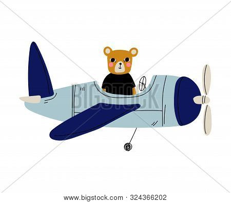 Cute Bear Pilot Flying On Retro Plane In The Sky, Humanized Animal Character Piloting Airplane Vecto