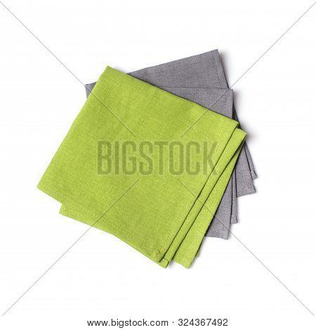 Folded Green And Gray Linen Napkin
