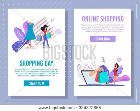 Mobile App for Online Shopping Webpage Trendy Flat Set. Cartoon Woman Character Doing Purchases via Laptop and Smartphone. Internet Order and Payment. Fast Goods Delivery. Vector Illustration poster