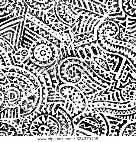 Seamless Black And White Geometric Pattern. Hand Drawn Ink Ornament. Vintage Print For Textiles.
