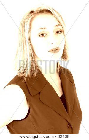 Beautiful Woman In Highkey Sepia Tones