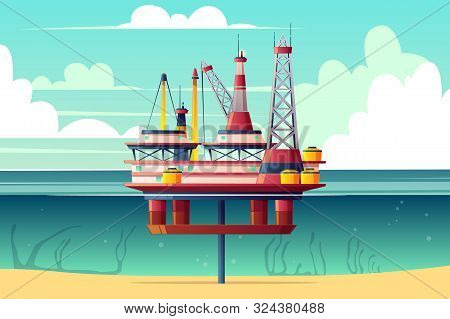 Semi-submersible Oil Platform, Sea-based Offshore Drilling Rig Cross Section Cartoon Illustration. O