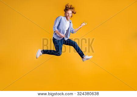 Full Length Body Size Photo Of Crazy Funny Red Haired Rock Hard Rocker Man Fan Wearing Jeans Denim C